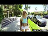 Tight and skinny teenage blonde with a stunning ass sucks a big cock in a car for five hundred bucks and gets her small pussy ...