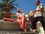 Watch this video amazing blonde mom with big round melons giving blowjob and riding a monster phallus at the poolside .