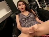 Thai ladyboy Grace jerks her very small cock and cums. Then she turns on the cameraman, while filling her asshole with a soft prickly vibrator. ...