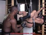 Amerifist has masked Greedyholeforu in his sling, and gets right to greasing up his hole. Amerifist slides his hands around to prep his fisting bottom ...