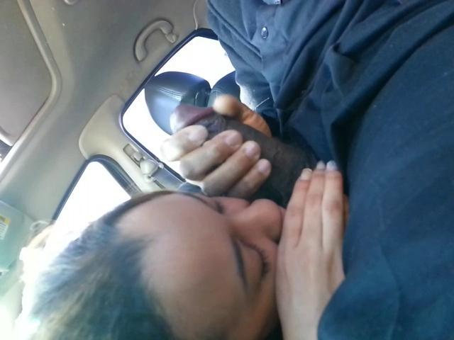 Black girl gives head in car, girl gets fucked deep gif