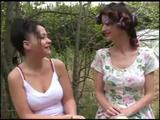 One confused busty sorority girl turns on a older woman who needs the girl's hairy bush--right outdoors!